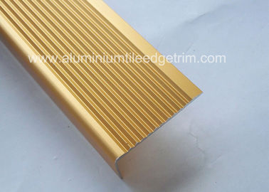 Solid Anodized Brass Aluminum Stair Nosing Profiles , Metal Stair Nosing For Wood Stairs
