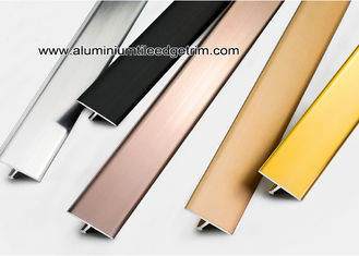 Shiny Colored Aluminium T Shaped Divider Trim / Decorative Strip